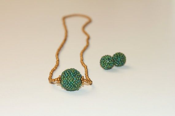 Beadwork Copper Emerald Green jewelry set  Beaded by Francysdesign, $80.00