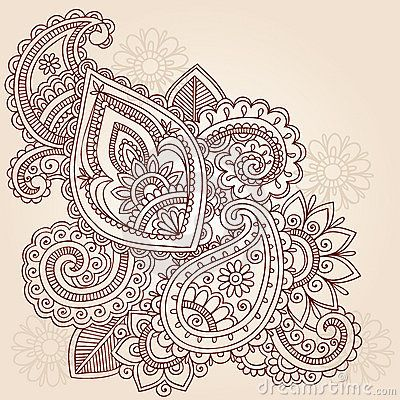 Hand-Drawn Abstract Henna Mehndi Tattoo Design-Paisley Doodle- Vector Illustration Design Element