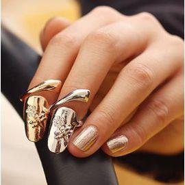 Bague Bague Femme, Ongle Nail Art Motif Fleur Taille Ajustable. Couleur Or Ou Argent Ba0004