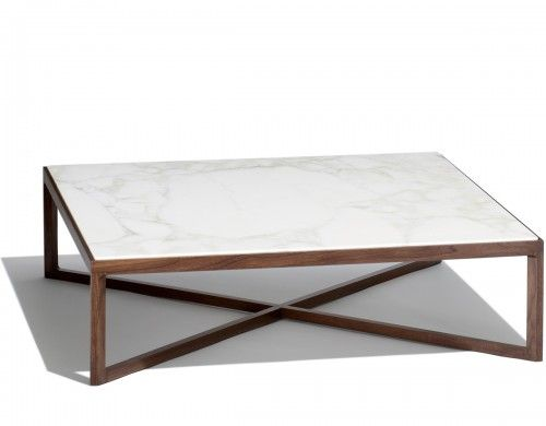 krusin square coffee table by knoll, marble top, walnut base