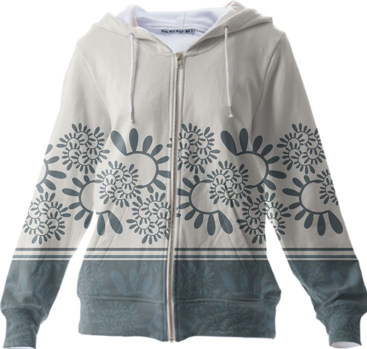 """Zip Up Hoodie! Ornament """"Smoky"""" vegetable, gray-blue color.  Floraaplus-design are author's patterns for your favourite things, with character: sometimes quiet, in gentle tones, sometimes explosive, bright and defiant. https://ru.pinterest.com/floraaplus/"""