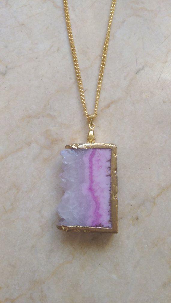 Pink Druzy Necklace Gemstone Necklace Druzy Pendant Gold