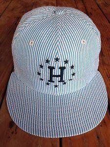 HUF Hat New Era Baseball Fitted Cap Front and Back Logo Blue White Stripe 7 5   eBay