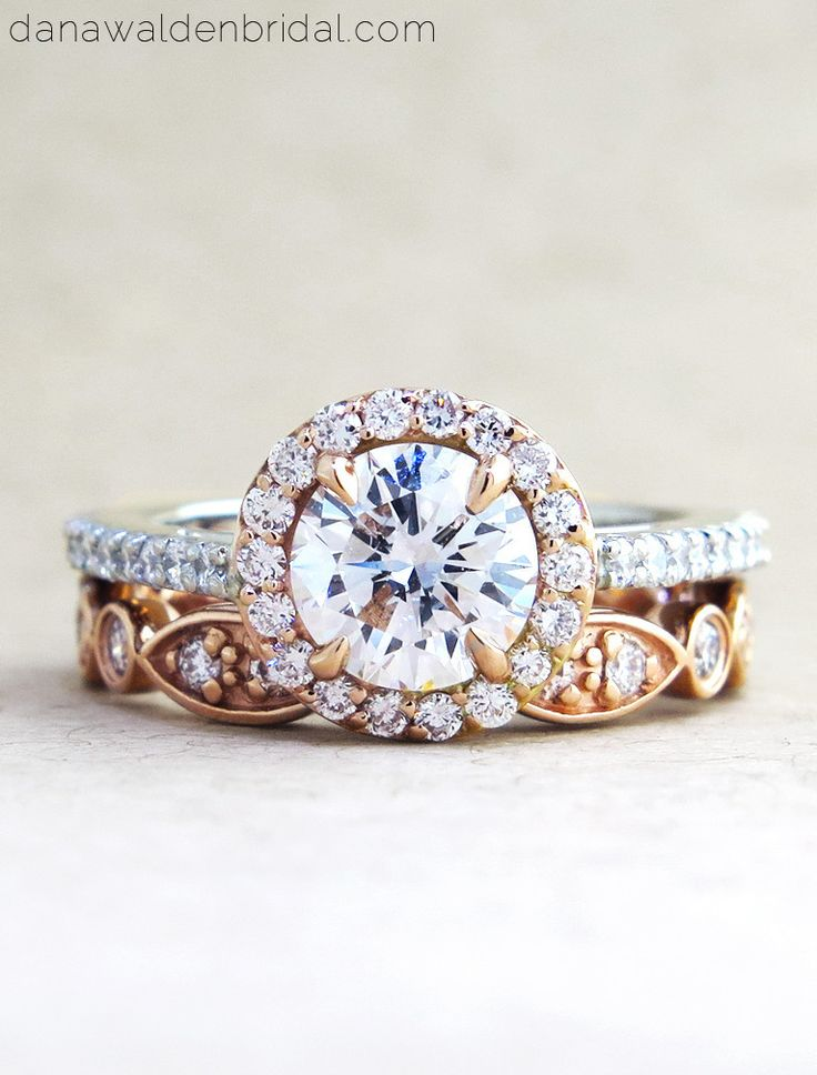 Lenore Custom Rose Gold + Platinum Diamond Halo Ring