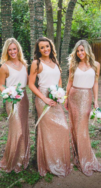 Rose Gold Sheath Maxi Sequin Skirt Wedding Party Skirt #sequin #rosegold