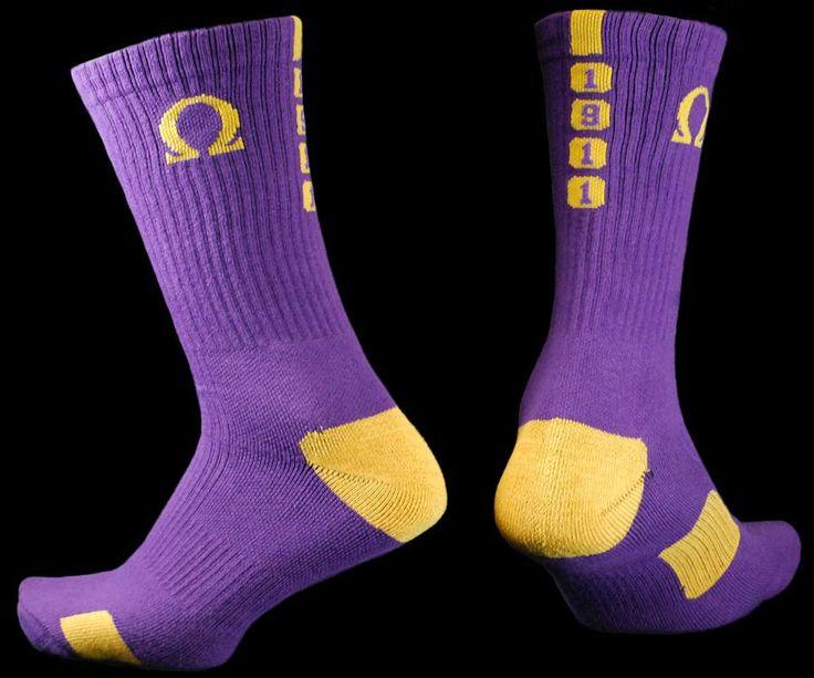 Omega Psi Phi Dry Fit Men's Crew Socks
