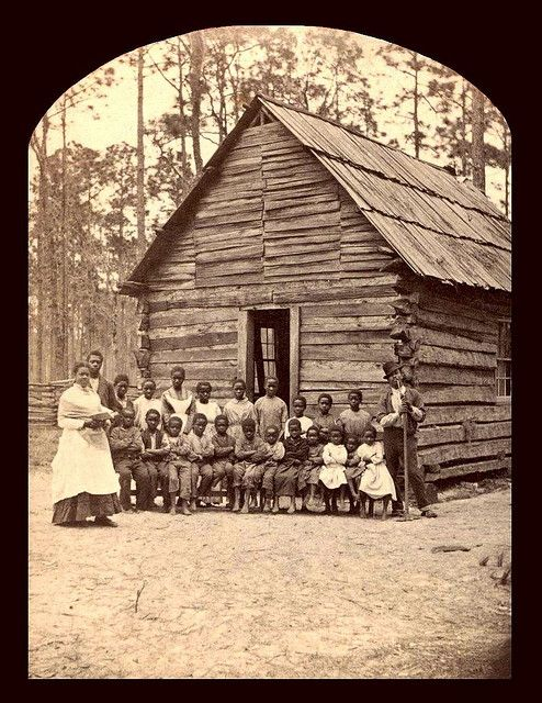 A beautiful image of a one room colored school in Fruit Cove, Florida...SLAVES, EX-SLAVES, and CHILDREN OF SLAVES IN THE AMERICAN SOUTH, sometime between mid to late 1870s-1880s