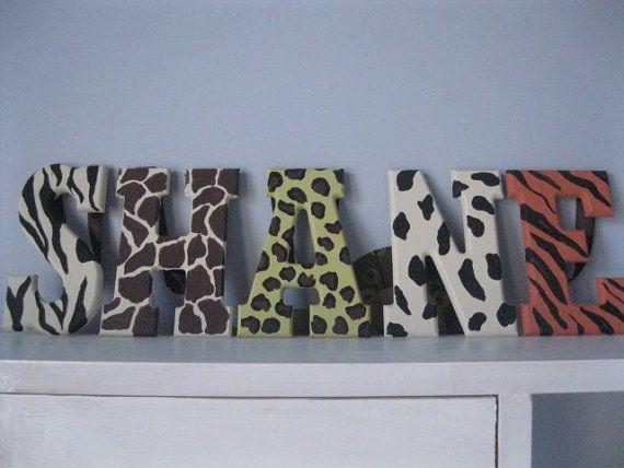 Handpainted animal print letters- great room decor!