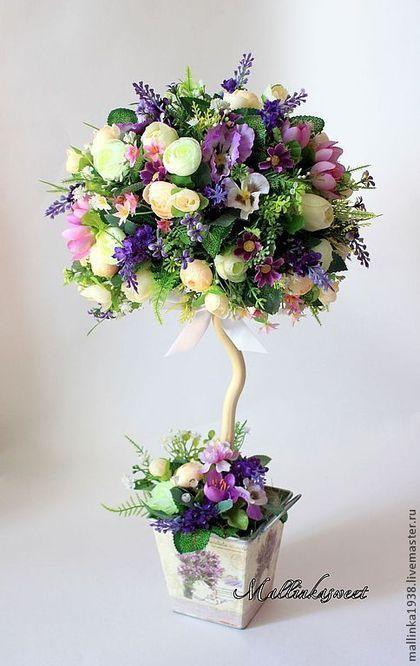 """Топиарий, дерево счастья """"Фиона"""" - фиолетовый,топиарий,топиарий дерево счастья"""