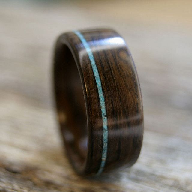 Ring | Frank Ladner ~ Stout Woodworks. Ziricote wood with thin offset crushed turquoise inlay