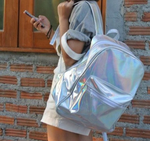 Holographic Backpack - $44.99 USD - http://ninjacosmico.com/12-holographic-fashion-items/3/
