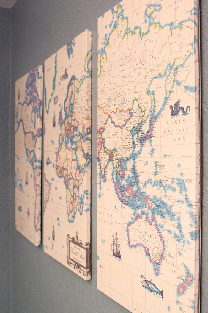 Vintage Map DIY Decoupage Mod Podge Wall