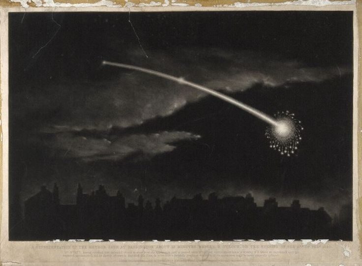 Astronomy: a comet in the night sky. CC-BY Wellcome ...  Celestial