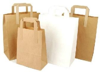 Paper Tape Handle printed paper bag...  These printed paper bags are made from a high quality coated board and hand finished. They are a strong and durable bag. Paper Tape Handle Carriers are widely used in Coffee Shops, Sandwich bars, Quick Service Restaurants and Retail Fashion Outlets. Paper Tape Handle Carriers are available in both White and Brown Papers. In assorted Sizes