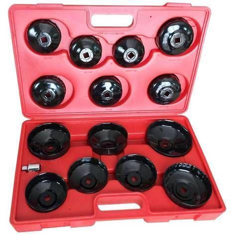 Cet outil permet de changer de façon aisée et professionnelle l'huile et les filtres à huile. Ce coffret de 14 pièces inclue 13 clés pour le démontage des filtres immergés et des filtres vissés traditionnels. Il convient pour la plupart des modèles de véhicules, le tout dans une mallette solide et très pratique gravée des numéros des pièces, vous permettant ainsi une identification rapide des pièces.Inclus dans la mallette • 13 clés de filtres à huile en acier et peintes en noir • 1…