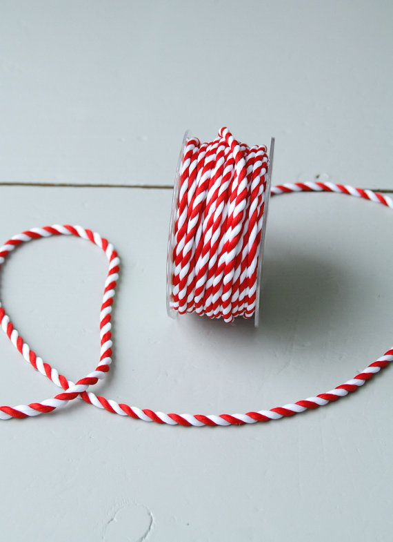 Red White Twisted Rope 30 Yards Of Striped Cord