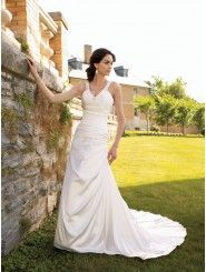 Charmeuse Scoop Neckline Finely Ruched Bodice A-line Wedding Dress