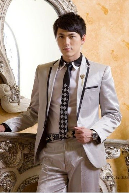 Buy Western Style Lapelled Single Button Groom Suit Grey with cheapest price|Clothing-Dropship.com