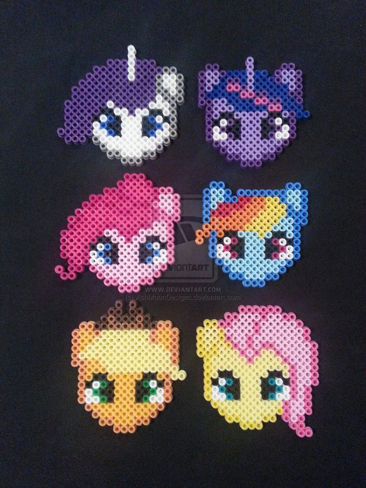 My Little Pony Perler Bead Ornaments by AshMoonDesigns