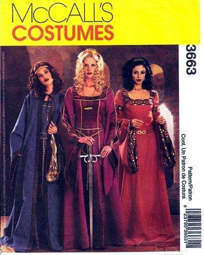 Renaissance Wedding Dress Costume History Mccall S By Heychica: McCall's Costumes 3663 Renaissance Medieval Dresses Sz 14
