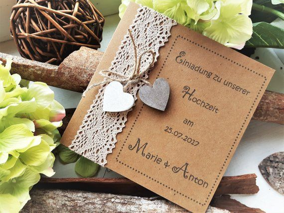 EIGHT HOCHZEIT Vintage-Wedding Invitation Boho | Invitation card | Wedding cards | Wedding apetry | Wooden heart | Strength paper LH_2
