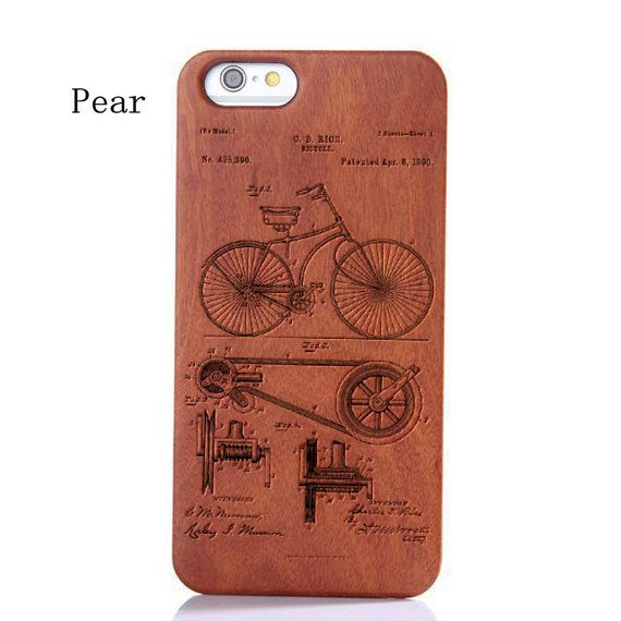 Wood iphone 5/5s Case, Laser Engraved Genuine Bicycle Patent Pattern Wooden Case For iPhone 6 ,iPhone 6 Plus,Samsung Galaxy S6 425390