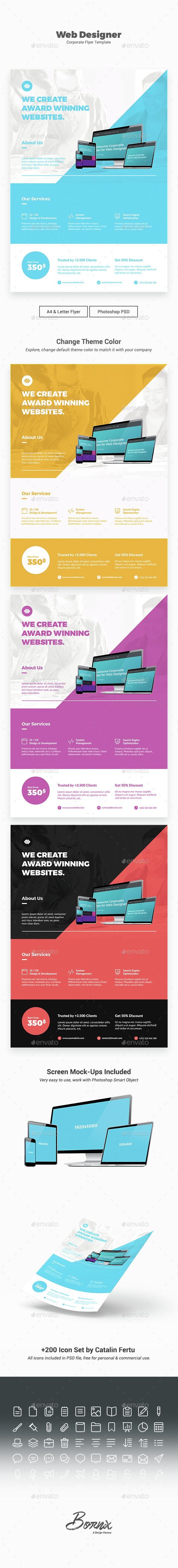 Web Designer Flyer   PSD Template • Download ➝ https://graphicriver.net/item/web-designer-flyer-template/14928457?ref=pxcr