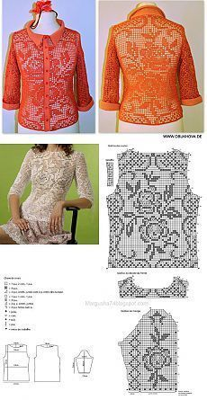 "Рубашка в филейной технике, 100% хлопок, крючок 1,5 [ ""Posts on the topic of Neriniai added by Dalia Zekiene"" ] # # #Filet #Crochet, # #Shirt, # #Crochet"