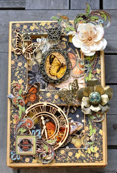 This is an incredible altered art box made by Susan Lui with a little music box and a pop-up card inside! So clever and stunningly beautiful! #graphic45