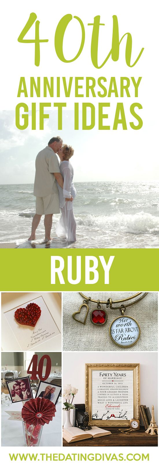 40th Anniversary Gift Ideas for your RUBY Anniversary! Sweet ideas!