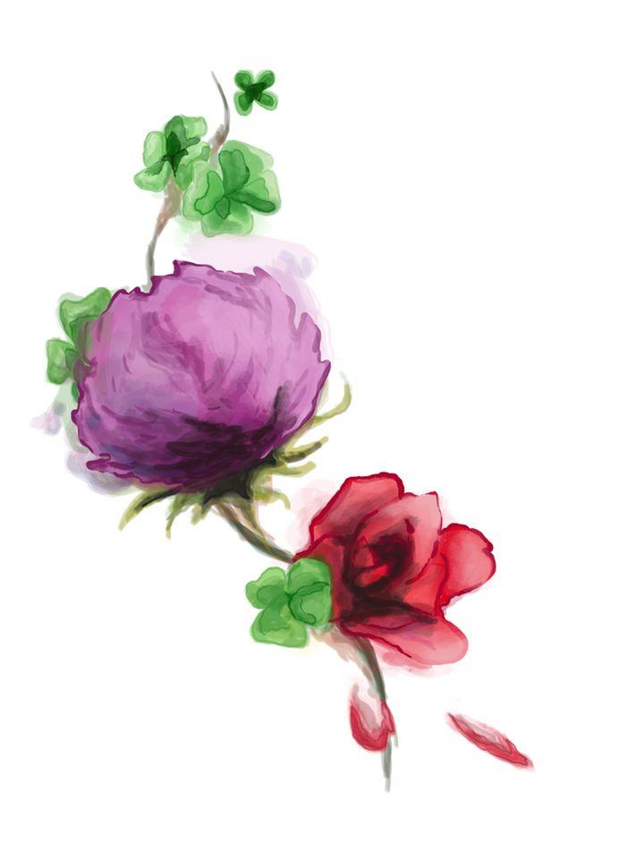 Thistle Rose Shamrock Watercolor by Autobiotix.deviantart.com on @deviantART