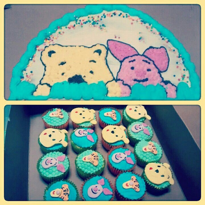 Pooh cupcakes and cake