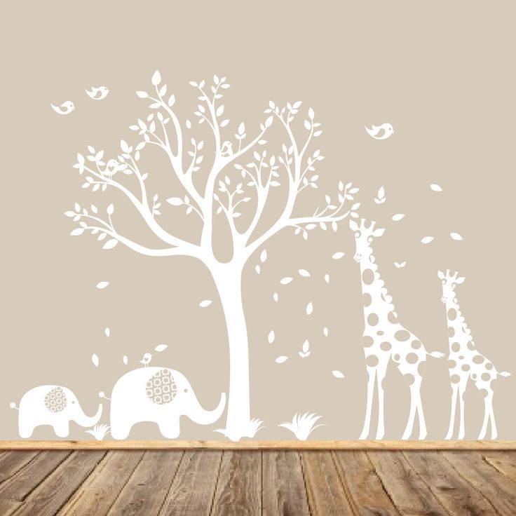 White Nursery Tree Decal, Animal Nursery Art, Baby Nursery Tree, Gender Neutral Nursery Tree, Modern Wall Art, Giraffe and Elephants by AppleandOliver on Etsy https://www.etsy.com/uk/listing/214035680/white-nursery-tree-decal-animal-nursery