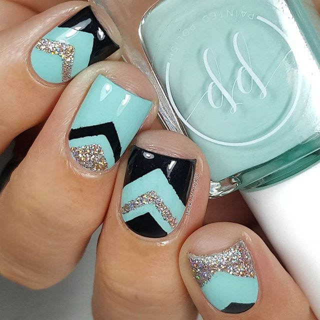 Chevron 💕 Because I'm basic AF! . . @paintedpolishbylexi Stamped In Mint 💗 part of The Stamped In Spring Collection 💕 Available at PolishCon 4/29 💗 online 5/9 @ 6PM PST + Champagne O'clock + Midnight Mischief. @polishedvino chevron vinyls #paintedpolish #polishconnyc #vinovinyls #prsample