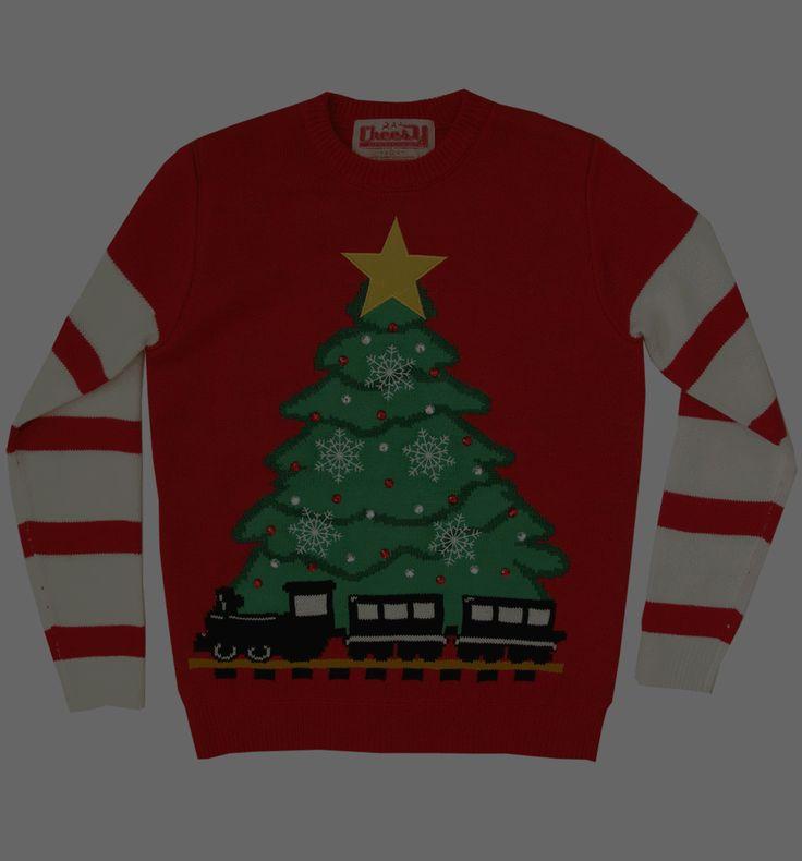 Unisex Retro röd LED Lightup julgran och tåg Jumper från töntiga jul byglar