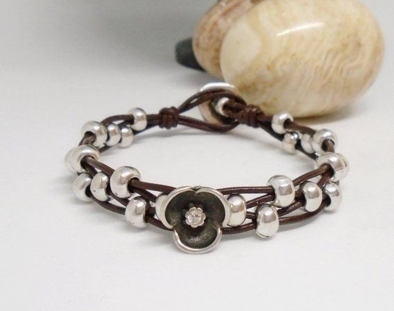 aa9a925bae9 Leather bracelet for women, leather and silver beaded wrap bracelet, silver  beaded boho bracelet, leather cuff bracelet, bohemian jewelry,