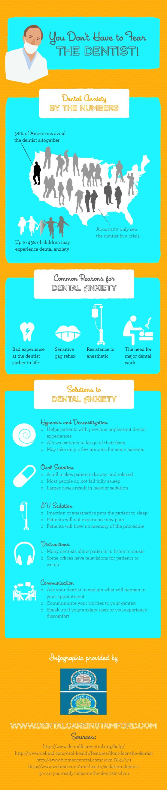 Many patients rely on hypnosis and desensitization, oral sedation, and distractions to overcome issues related to dental anxiety. You can find other popular solutions for dental anxiety on this infographic from a dentist in Stamford. – Mind and Body Therapy