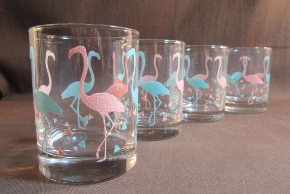 Libbey Flamingo Glasses Mid Century