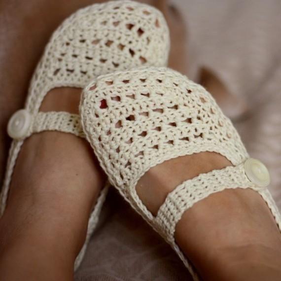 Ladies Milky Slippers, crochet pattern pdf, women house slippers
