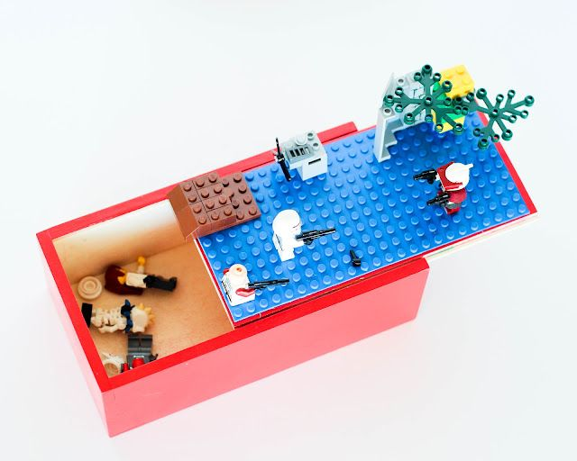 Make a LEGO Travel Box: This is a brilliant idea! A custom LEGO travel box for the lil guy in your life and car! Use a wooden box with a sliding lid you can find at craft stores, glue on a building plate, & pack the rest of the LEGO pieces into the box. So not only do you have a travel container, the travel box becomes part of the play.