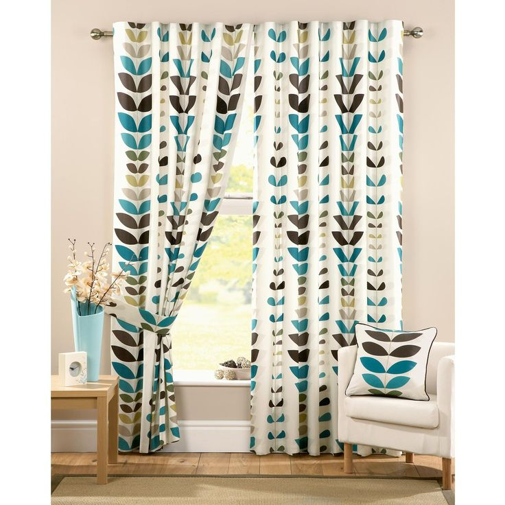 """Zest Modern Retro Solid Printed Leaf Pattern Readymade Lined Pencil Pleat Curtains, Cream / Teal - 66"""" x 90"""": Amazon.co.uk: Kitchen & Home"""