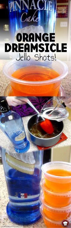 ORANGE DREAMSICLE VODKA JELLO SHOTS - Made with Pinnacle Cake flavored vodka. Good for any party!