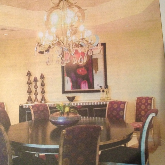 Dining room with plum print chairs