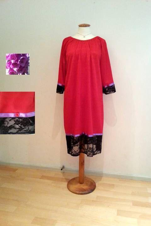 Red tunic dress sale black lace dress lace dress by WalinaWebshop