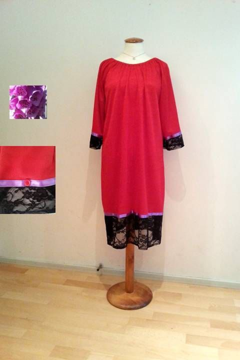 Red tunic dress black lace purple ribbon onesize by WalinaWebshop