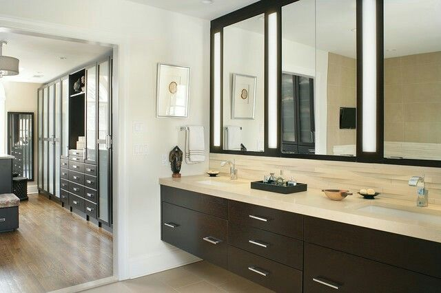 KW: Pass Through The Bathroom Into The Closet? Modern Master Bath And  Dressing Room   Contemporary   Bathroom   New York   Kingsley Belcher  Knauss, ASID
