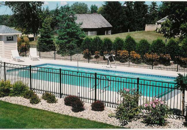 Fence and landscaping ideas if we do a fence around the for Landscaping around pool