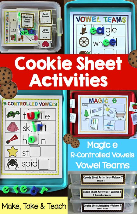 Cookie sheet activities for magic e, r-controlled vowels and vowel teams!