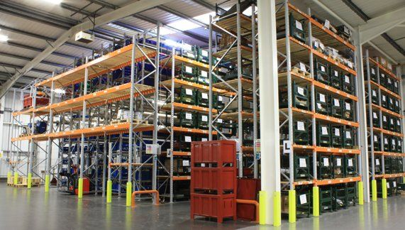 Rack supported multi-tier picking structure, combined with varying beam level size solution over 9,390 sq/ft area maximises overall storage capacity at Rolls-Royce plc warehouse in Winsford...