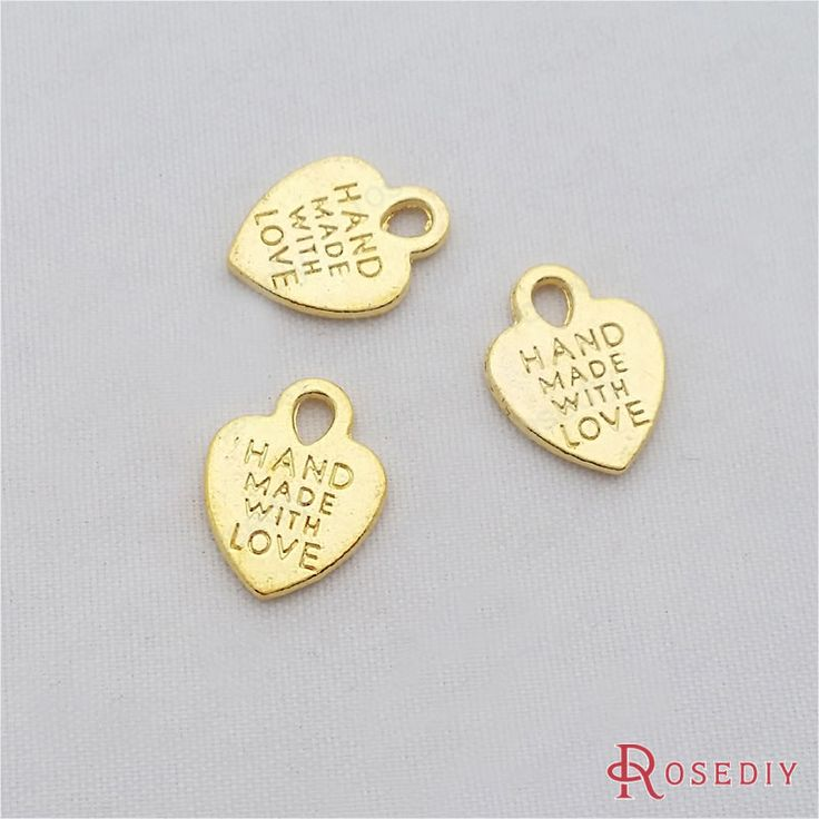 (29213-G)15PCS 15*12MM Gold Color Plated Zinc Alloy Handmade with love Heart Charms Diy Handmade Jewelry Findings